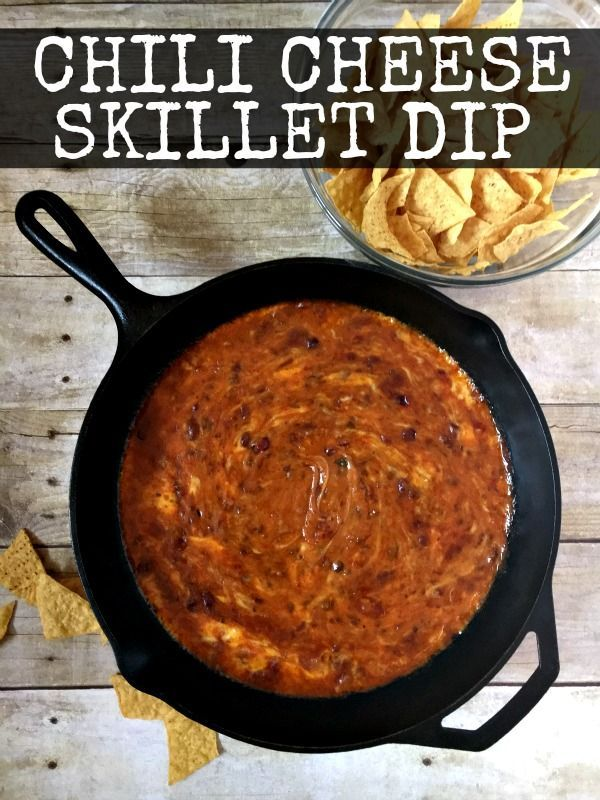 My Chili Cheese Skillet Dip is the best cheesy dip ever!