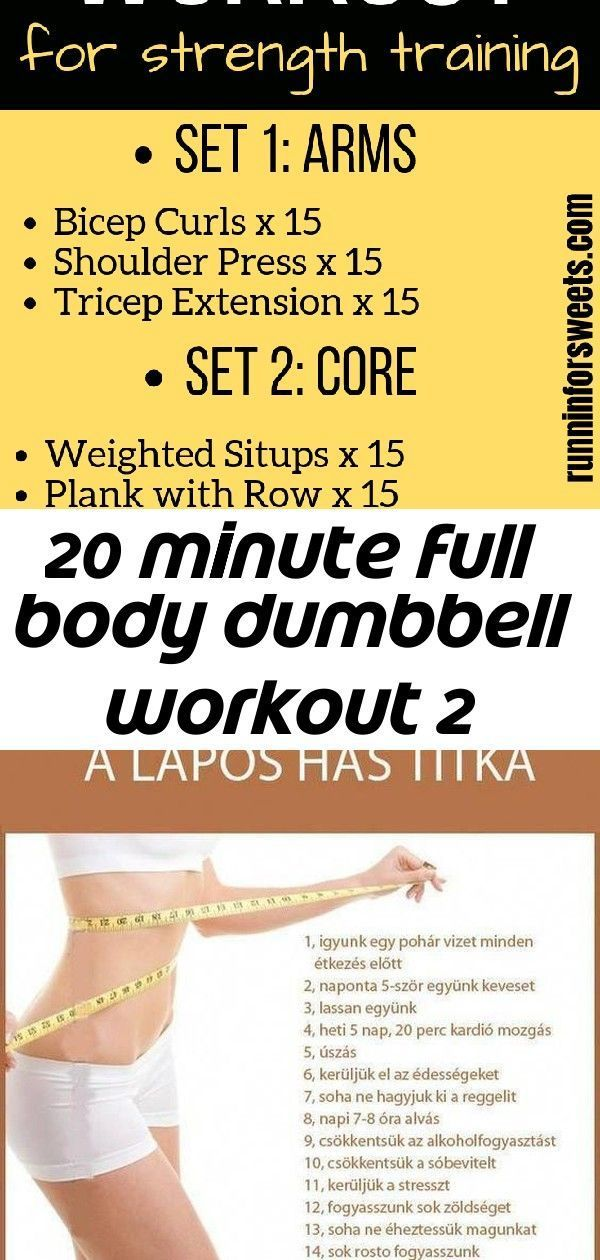 20 minute full body dumbbell workout 2 #dumbbellexercises This 20 minute full body dumbbell workout is perfect for at home strength training. Complete with 8 dumbbell exercises, this workout targets the arms, legs and abs to help you build muscle and stay strong during training. #dumbbellworkout #dumbbellexercises #strengthtraining flat abs,slim tummy,stomach workout,abdominal exercises,flat stomach diet #abchallenge30day Whether its six-pack abs gain muscle or weight loss this 12-Week No-Gym We #dumbbellexercises