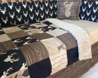 Minky Baby Blanket Deer Stag Head Black And White