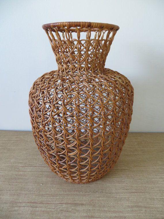 Vintage Tall Woven Wicker Vase