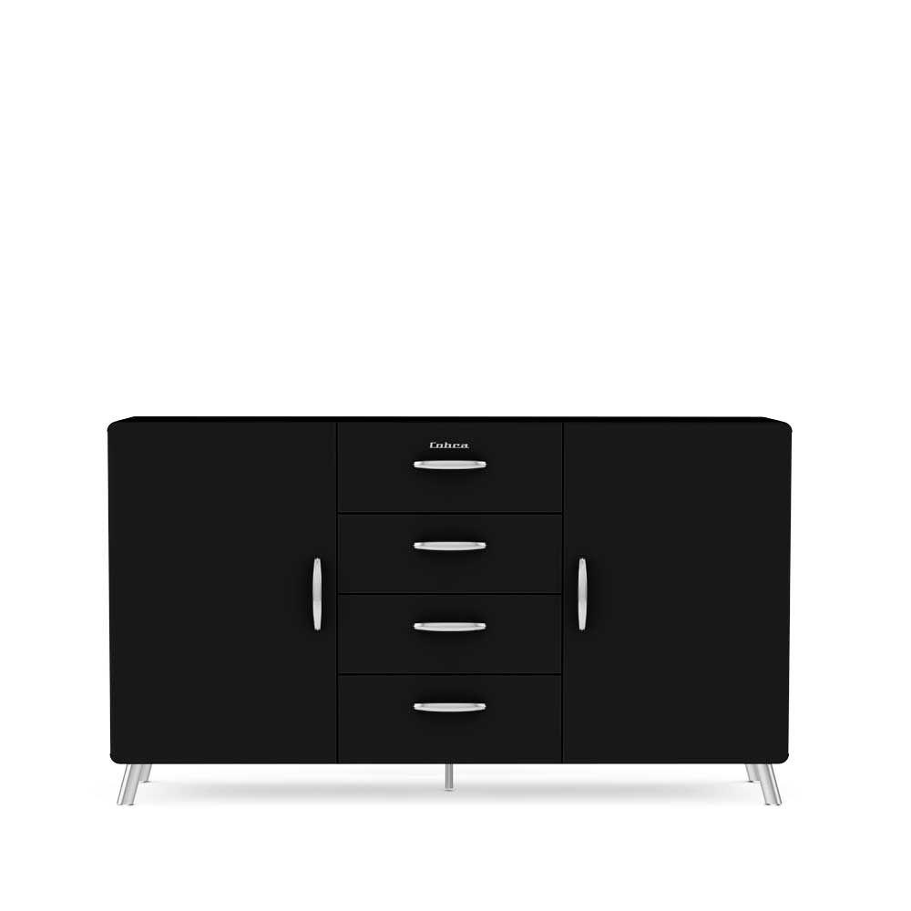 Retro Sideboard In Schwarz Lackiert Modern Sideboardwohnzimmerschrank Kommodesidebordkuchenkommode
