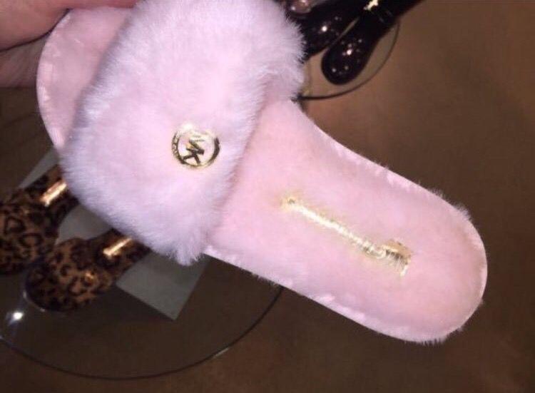 Michael Kors Fuzzy Pink Slide