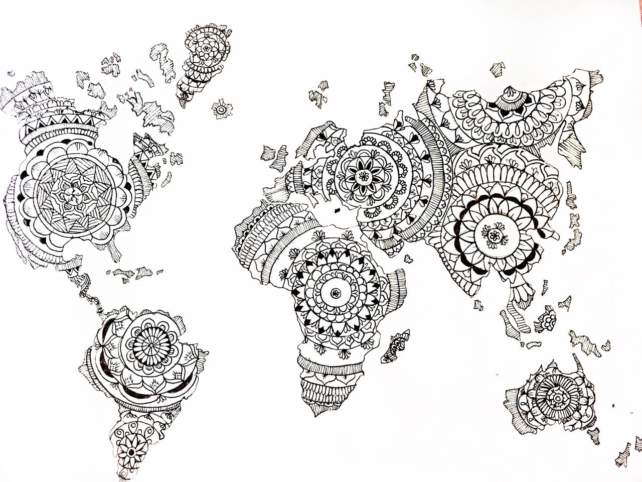 Colouring in world map - Image Result For World Map Mandala