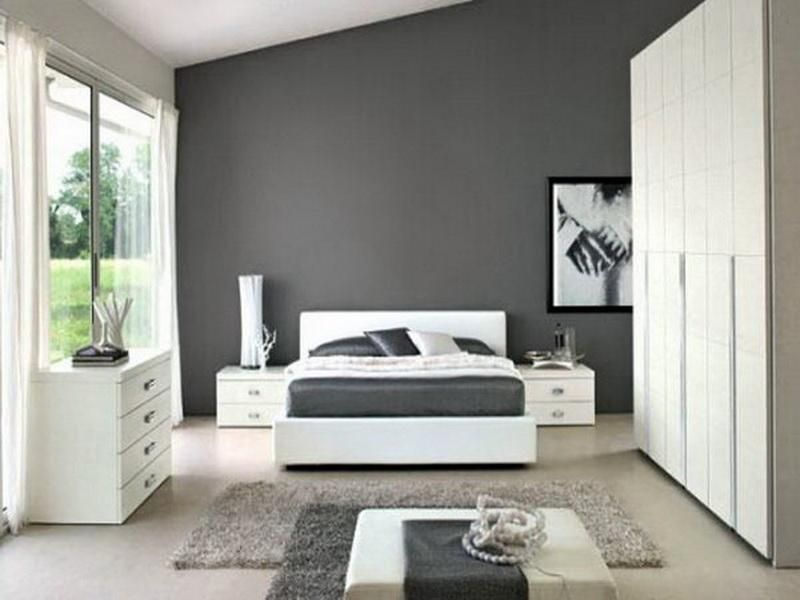 Charmant Bedroom Color Gray | Simple Gray Bedroom Paint Color Decorating Ideas With  Unique Lighting .