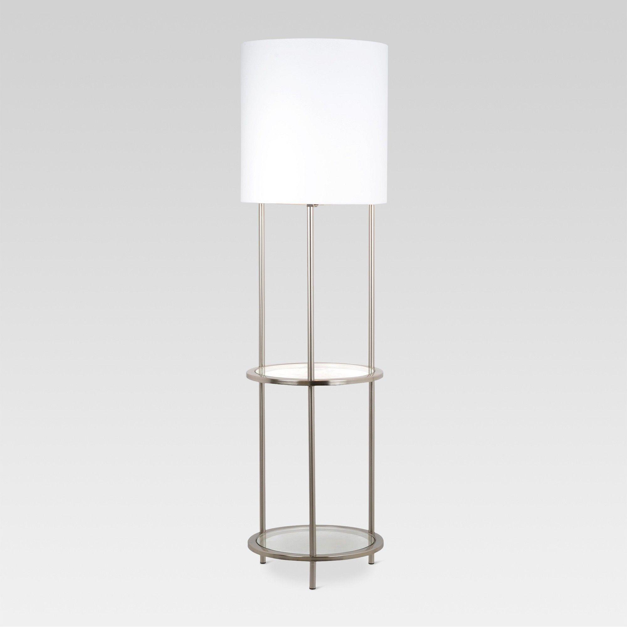 Glass Shelf Floor Lamp Silver Includes Energy Efficient