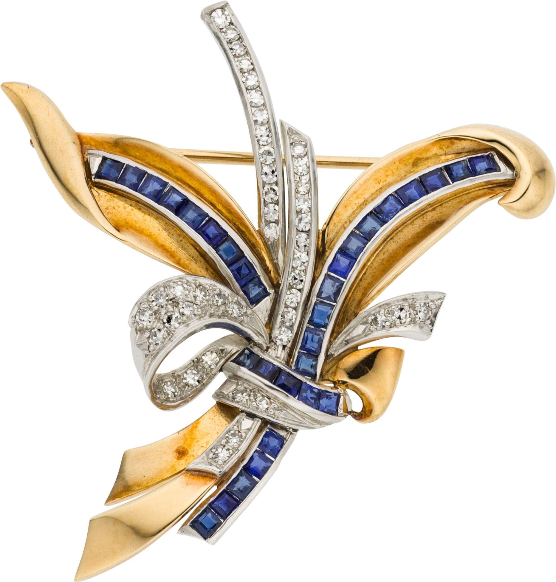 diamond sapphire gold brooch