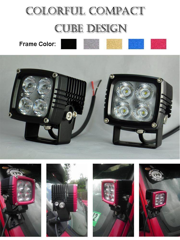 Cube design led off road work lights for trucks, 12v 24v 4x10w XM-L ...