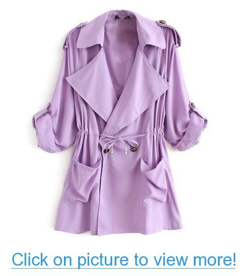 Hee Grand Women's Long Sleeve Drawstring Trench Coat #Hee #Grand #Womens #Long #Sleeve #Drawstring #Trench #Coat
