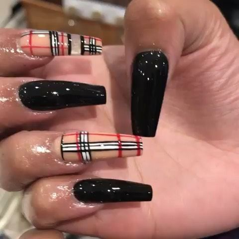 baddie nails instagram in 2020  black acrylic nail