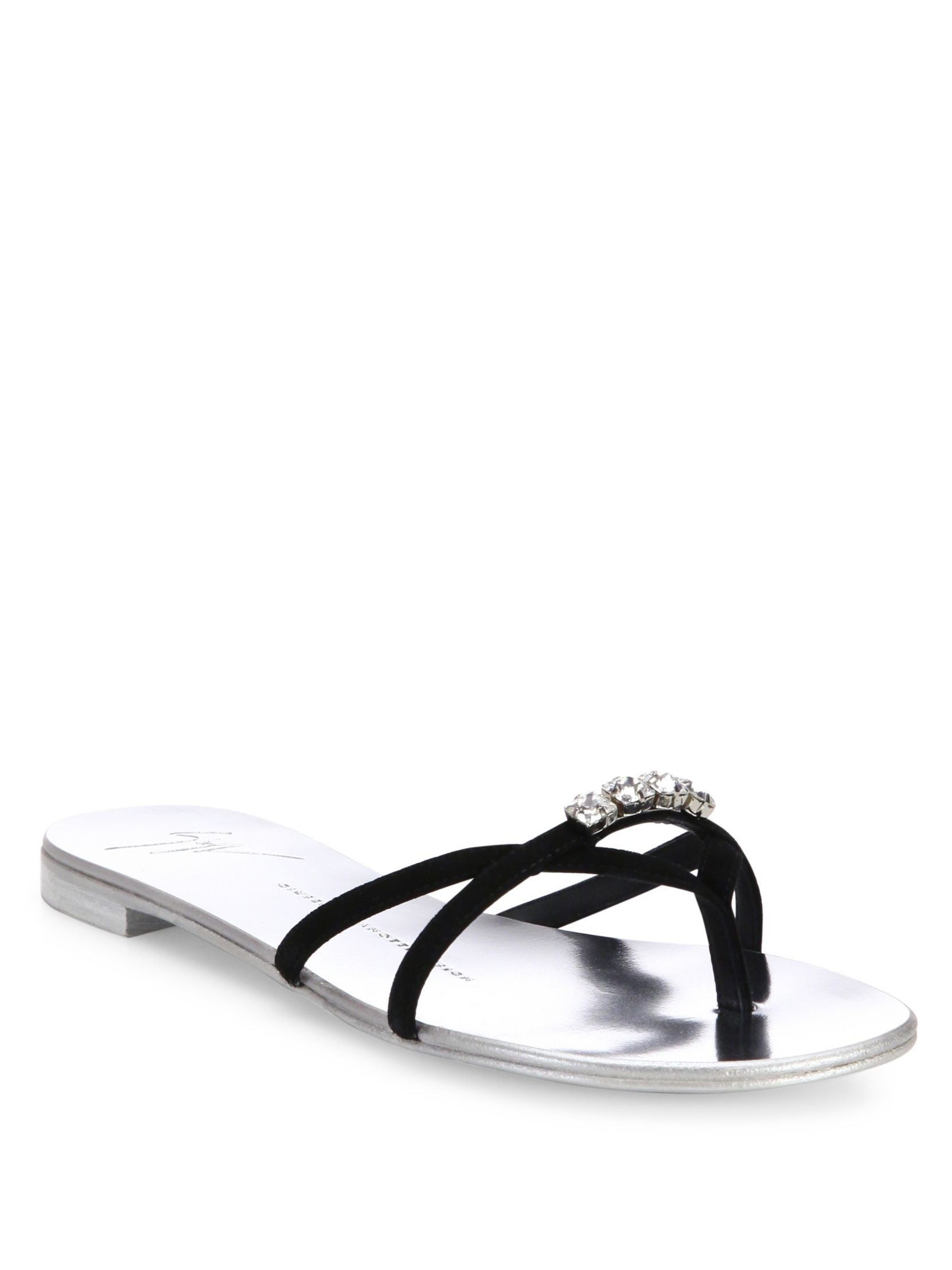 buy cheap clearance store outlet pay with visa Giuseppe Zanotti Suede Embellished Slide Sandals cheap reliable buy cheap exclusive sale looking for WbjkJ