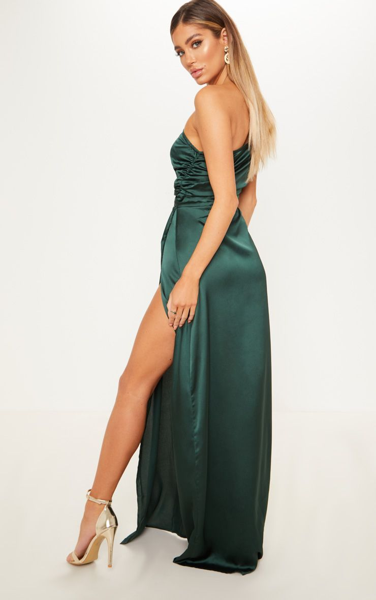 bf39d848823 Emerald Green One Shoulder Satin Ruched Maxi Dress | PrettyLittleThing USA