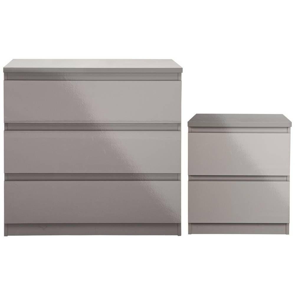 Argos Home Jenson Bedside 3 Drawer Package Grey Gloss Bedroom Furniture Sets