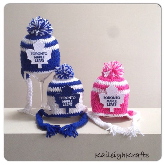 Toronto Maple Leafs Crochet Hat with NHL Patch and Hockey Diaper ...