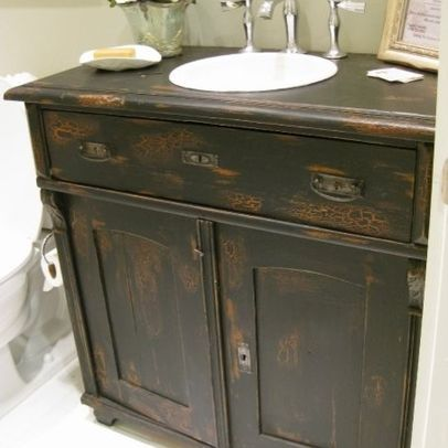 Hermoso Vanitori Antique Sideboard Used As Bathroom Vanity