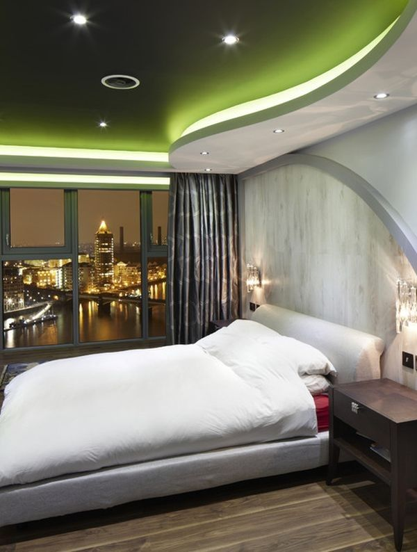 Master Bedroom Ceiling Designs Unique Stylish Ceiling In A Modern Bedroom With Green Color Design Design Ideas