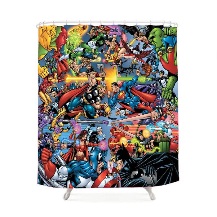 Avengers Vs Justice League Shower Curtain Avengers Vs Justice