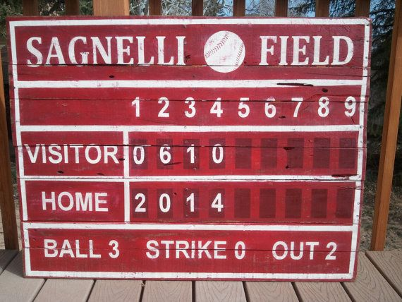 Baseball Scoreboard Wood Pallet Sign By Thecreativepallet On Etsy Let S Hear It For The Boys Baseball Scoreboard Wood Pallet Signs Vintage