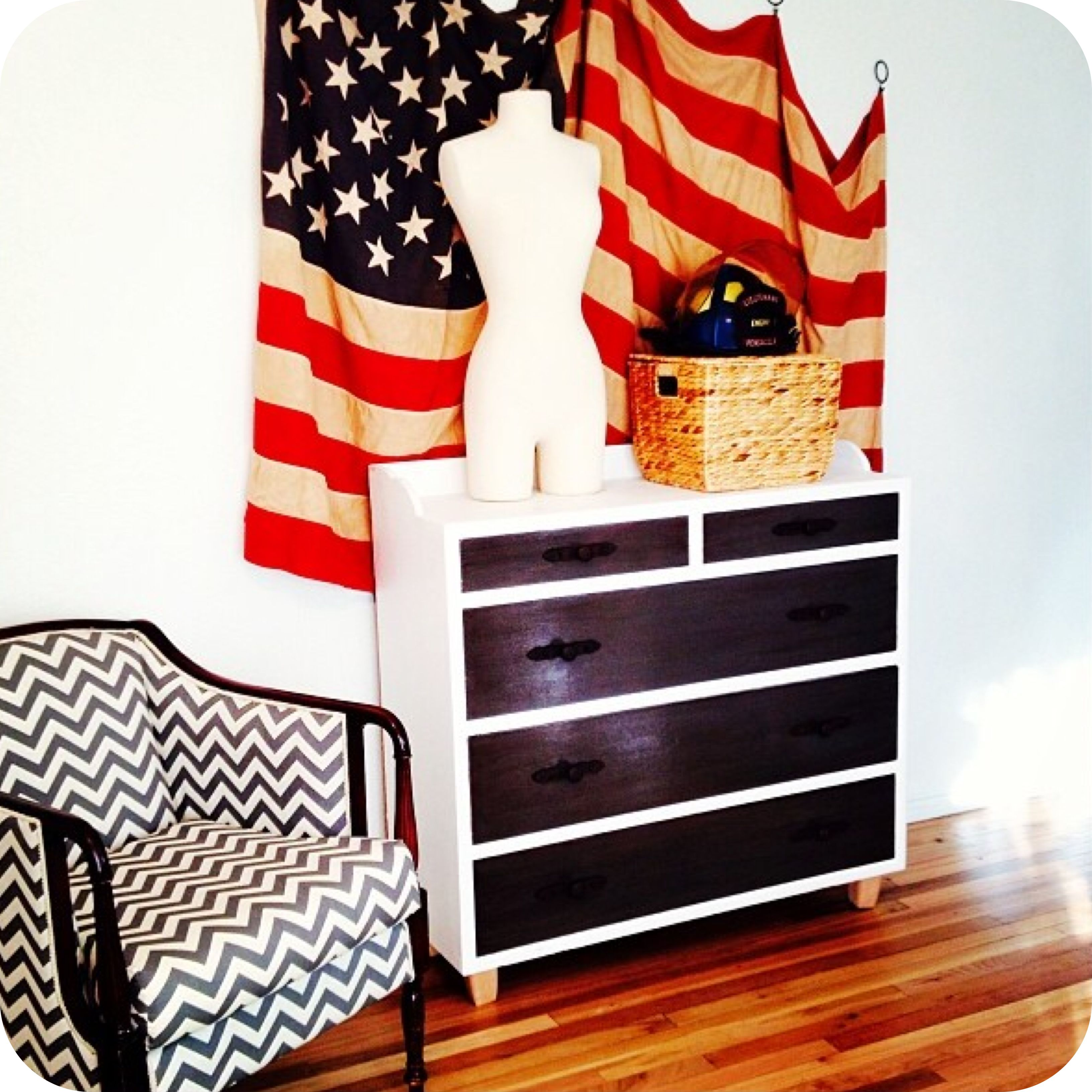 American Flag Draped Boxy Arm Chair With Sculpted Silhouette And Chevron Pattern