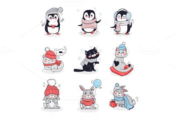 Set Animals In Warm Clothes Clothes Illustration Cartoon Animals Trendy Hat