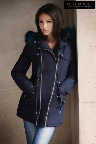 Buy Michelle Keegan Faux Fur Trim Hooded Parker from the Next UK ...