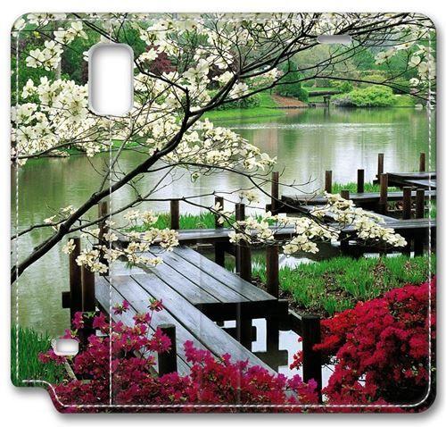 nature tree grass cherry blossom bridge river garden bush japanese garden leather cover for samsung galaxy