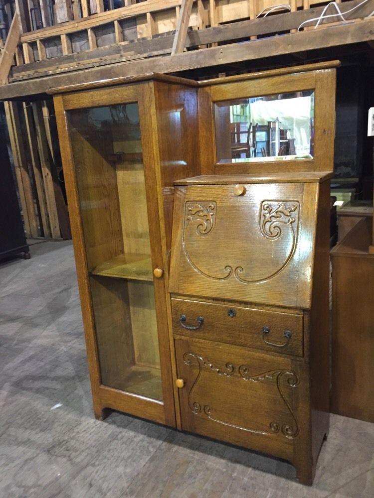 Antique Oak Side By Side Secretary Desk Gun Cabinet - Antique Oak Side By Side Secretary Desk Gun Cabinet Antiques