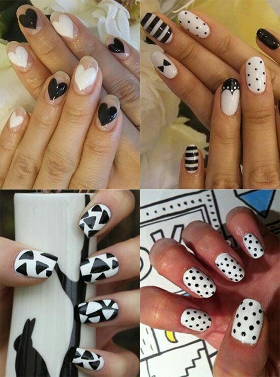 Black and white multi nailart #nailart #nails #black #white