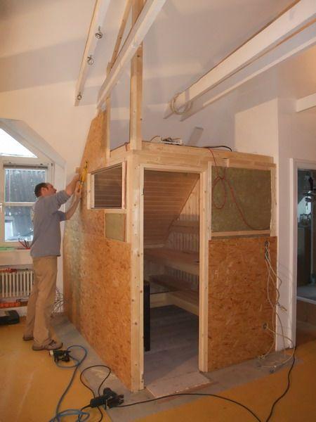 Saunaeinbau Dachschrage Aussenwand Sauna Einbau Diy Sauna Sauna Selbst Bauen