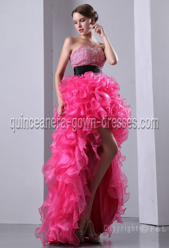 sweet 16 dresses   Hot Pink and Black High-low Sweet 16 Dresses ...