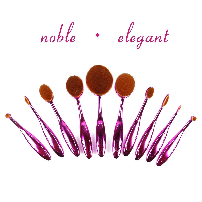 28.49 Purple 10pc Oval Cosmetic Makeup brush set