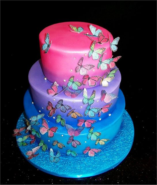 Airbrushed cakes butterfly wedding cake an untraditional for Airbrush cake decoration