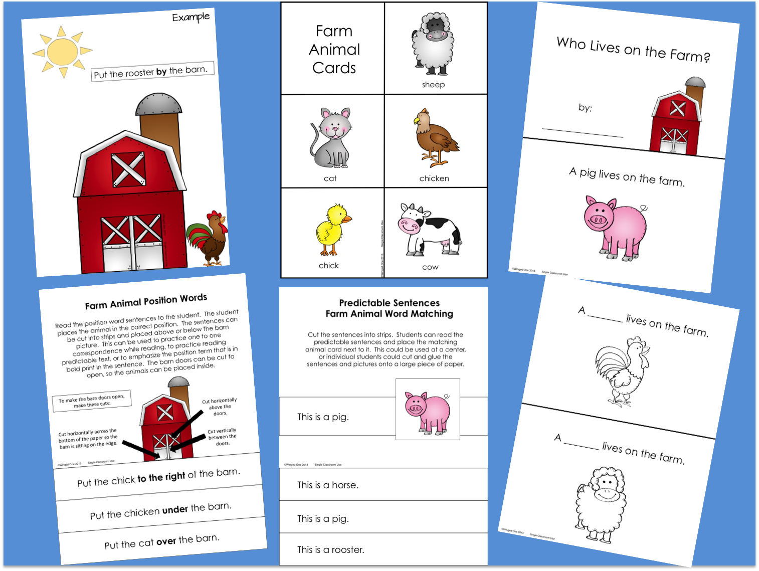 Farm Position Words, Picture/Word Matching, Predictable