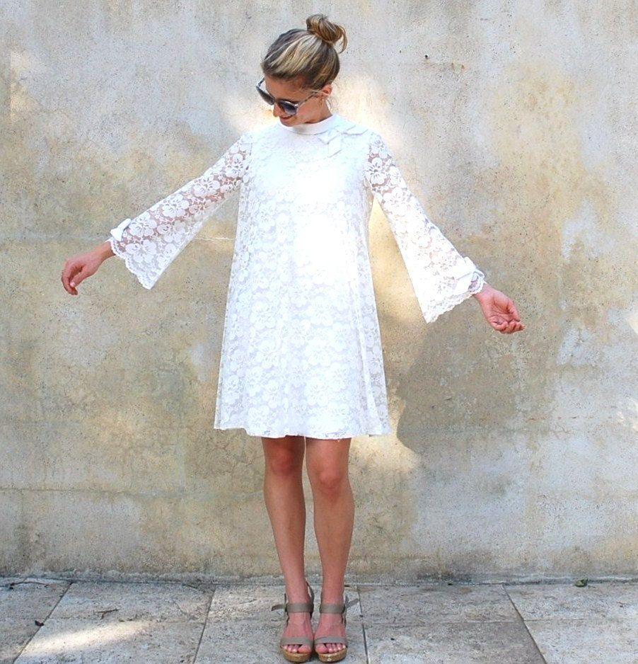 Vintage Mod White Lace Dress 1960s Twiggy Cocktail Dress Etsy Lace White Dress Lace Dress Little White Dresses [ 938 x 902 Pixel ]