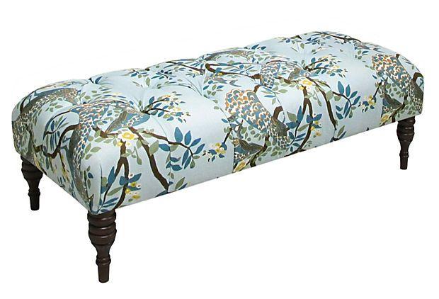 Colette Tufted Bench, Sky Blue on OneKingsLane.com