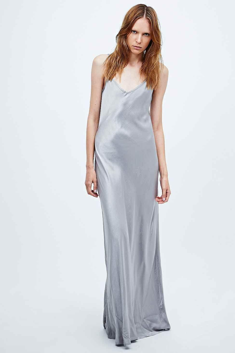 Ghost Mel Long Satin Slip Dress in Silver
