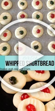 These light and sweet whipped shortbread cookies with a cherry on top are so quick and easy to make. Christmas cookie perfection! #shortbread #whippedshortbread #cookies #Christmas #easy  These light and sweet whipped shortbread cookies with a cherry on top are so quick and easy to make. Christmas cookie perfection! #shortbread #whippedshortbread #cookies #Christmas #whippedshortbreadcookies These light and sweet whipped shortbread cookies with a cherry on top are so quick and easy to make. Chri #whippedshortbreadcookies