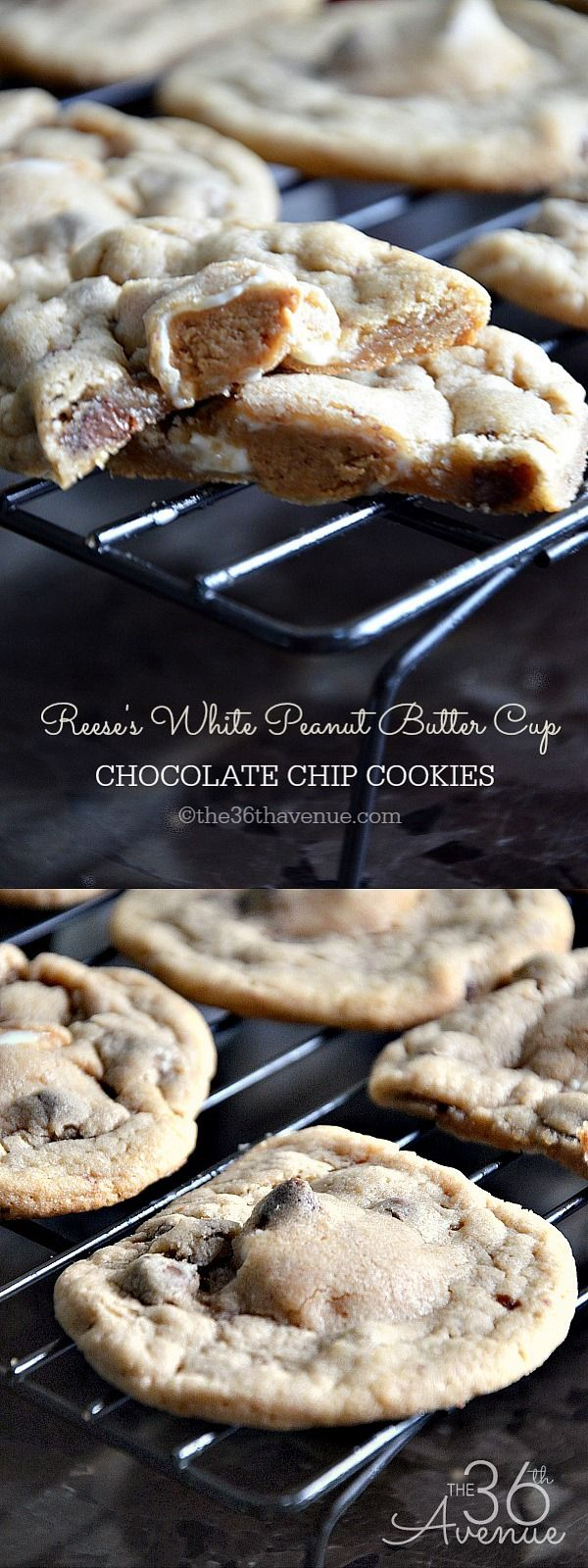 Reese's Peanut Butter Cup Chocolate Chip Cookie Recipe. Pin it NOW and bake them later! the36thavenue.com