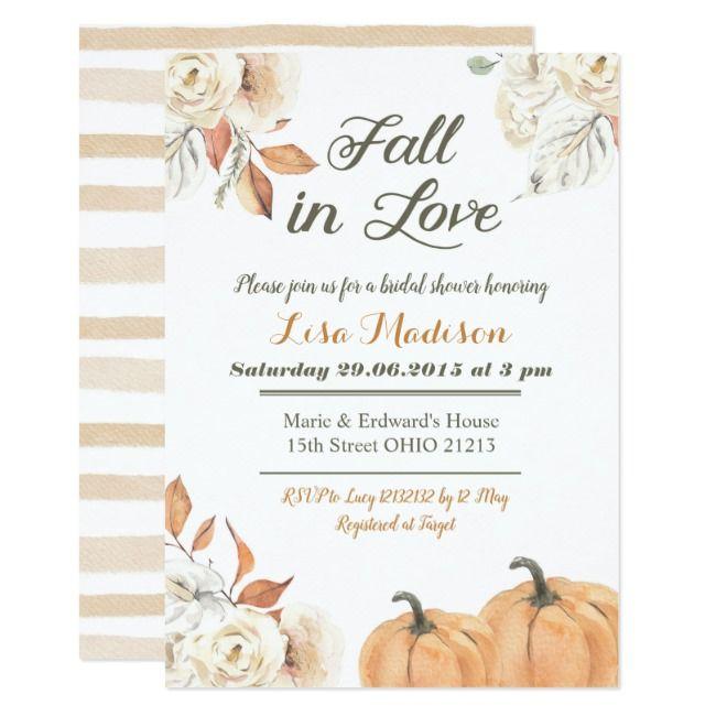 Fall Autumn Pumpkin Fall in Love Bridal Shower Invitation |  Fall Autumn Pumpkin Fall in Love Bridal Shower Invitation