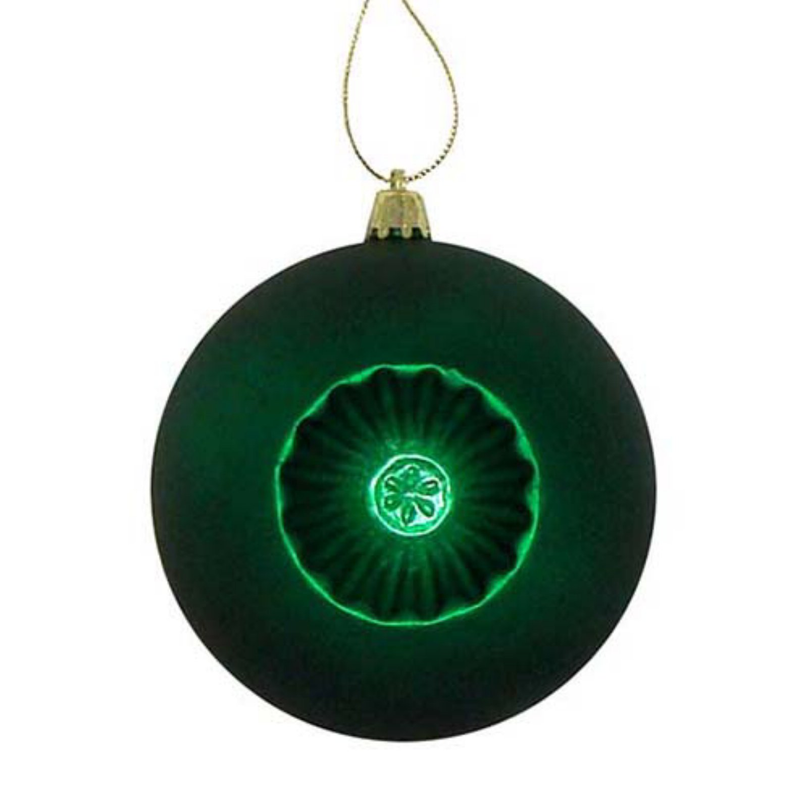 DAK 4 in. Matte Retro Reflector Shatterproof Christmas Ball Ornaments - Set of 6 Christmas Green ...