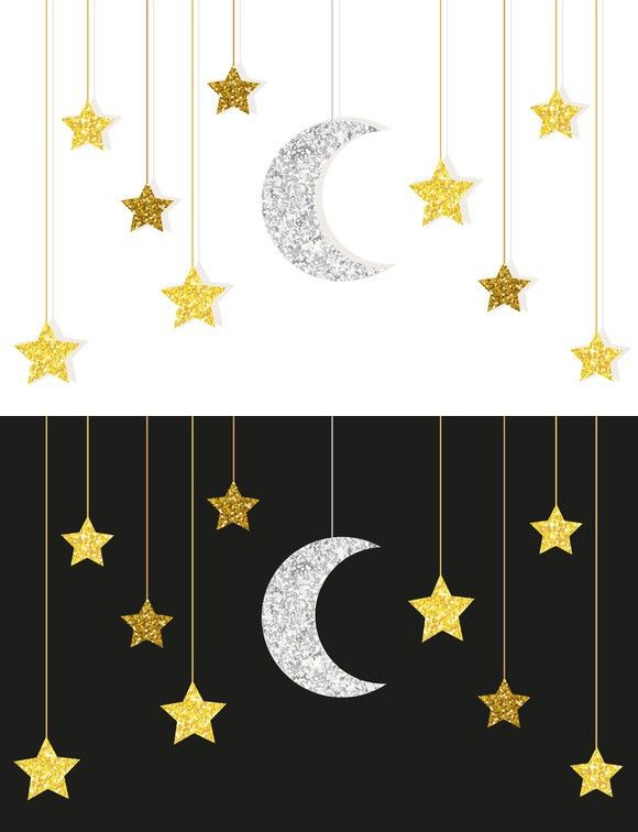 432927ea3 Gold and silver moon and stars | Illustrations | Ramadan decorations ...