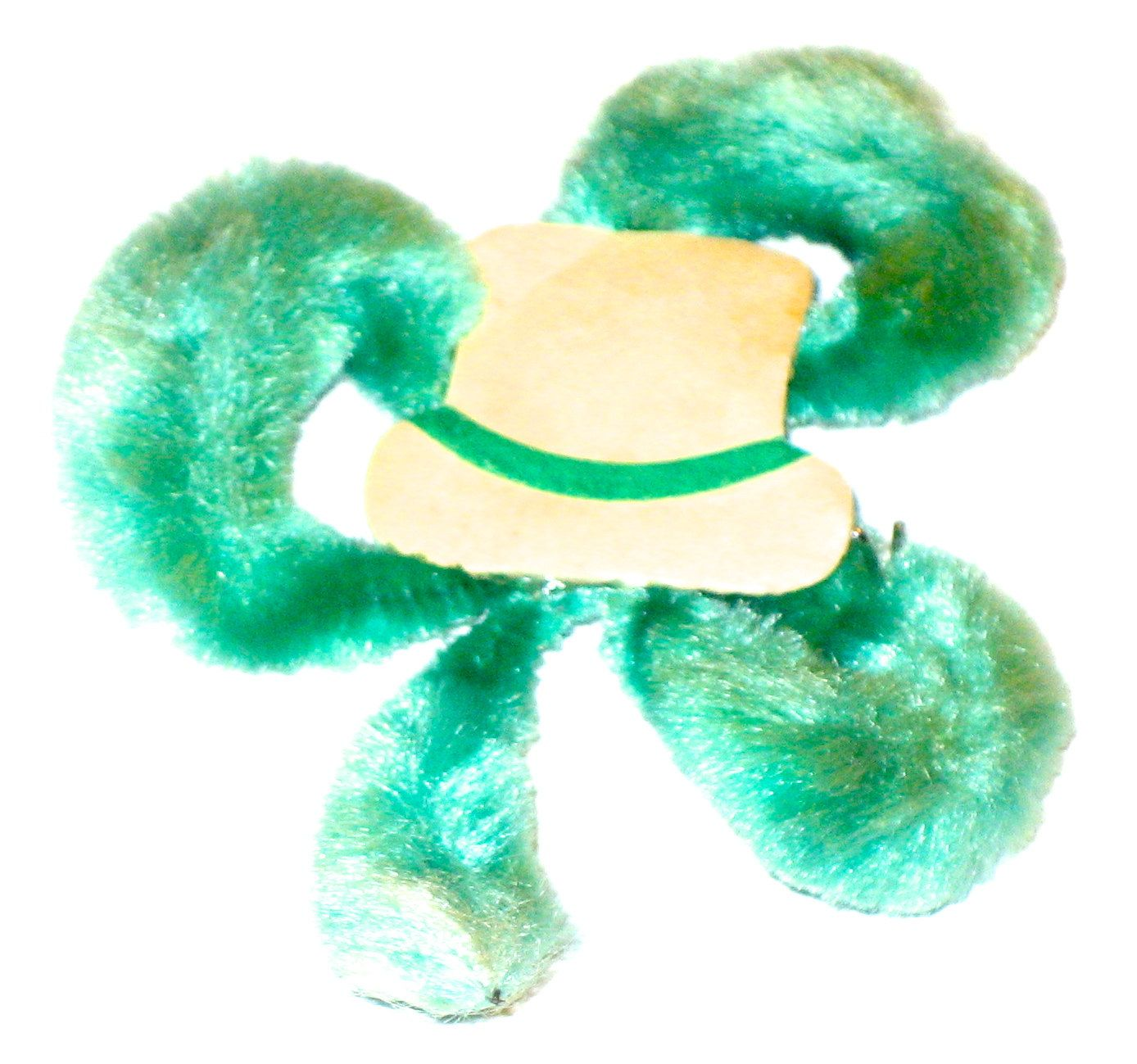 Vintage chenille clover pin St Patrick's Day brooch with paper hat novelty jewelry by sweetalicelovesyou on Etsy