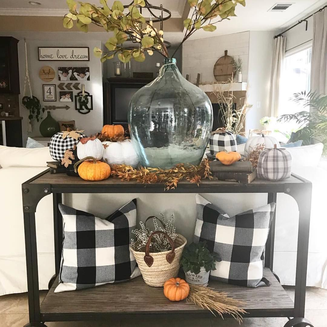 Black Buffalo Check Fall Decor