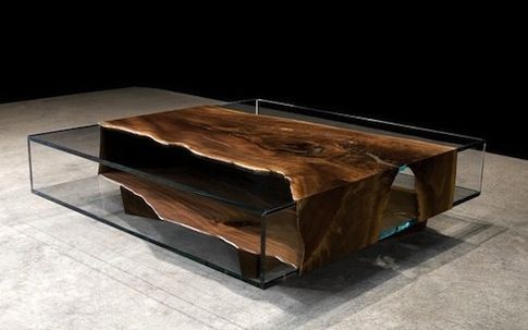 raw wood & glass table, designed & crafted by john houshmand