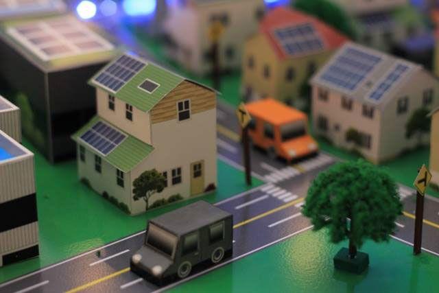 Smart Grid City Building Paper Craft A4 Paper Paper
