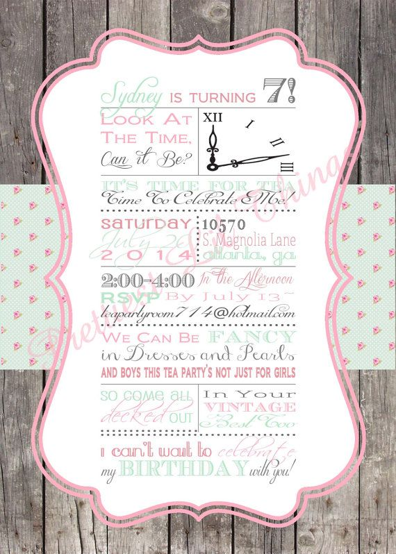 Shabby chic english rose vintage girls tea party invitation birthday shabby chic english rose vintage girls tea party invitation birthday party bridal or baby shower pink stopboris Image collections