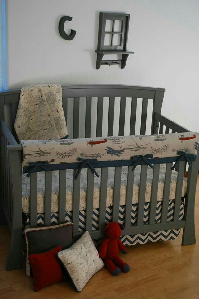 Crib Bedding Boy Custom Baby Sheets Vintage Airplane Nursery