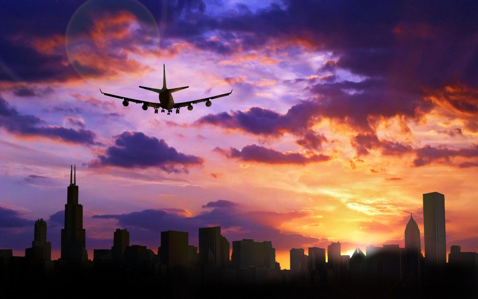 Plane Flying Over Chicago, Illinois - Wallpaper #36114