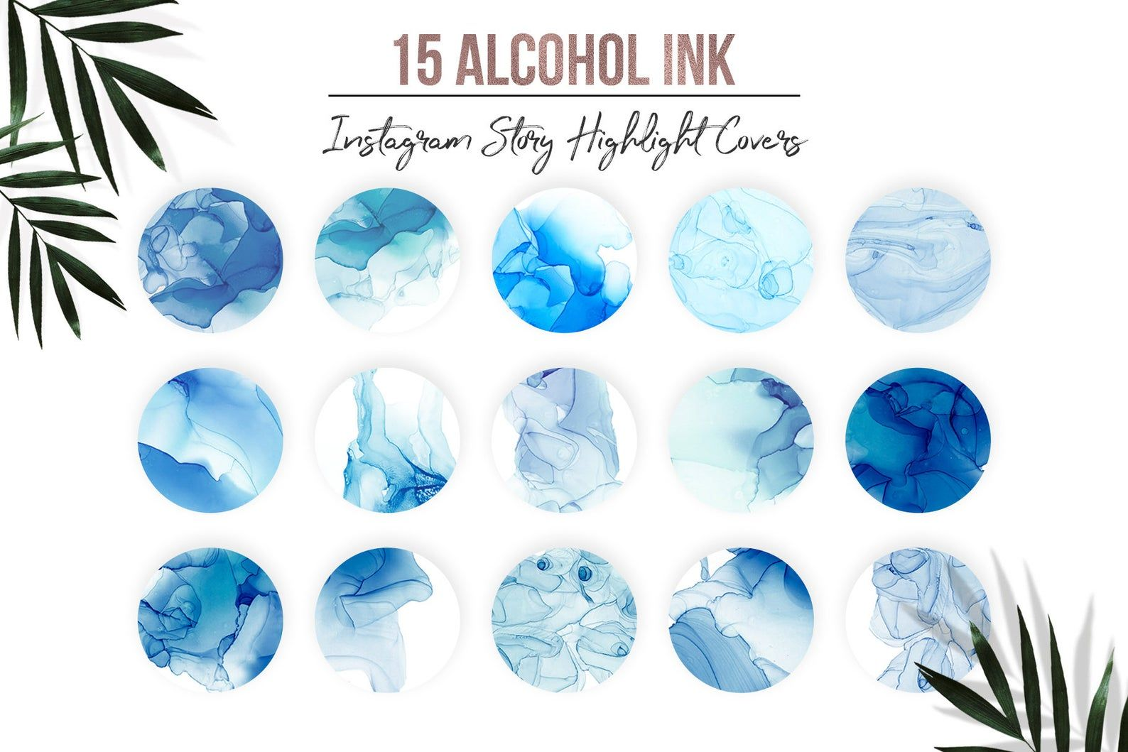 Alcohol ink watercolor instagram story highlight covers