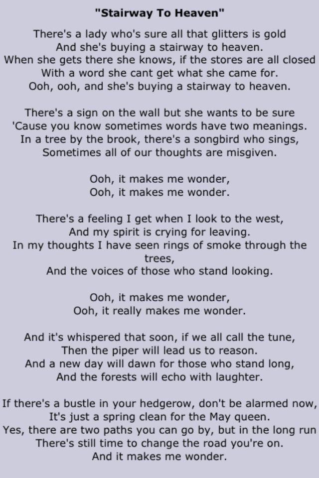 Stairway To Heaven Rock Music Lyrics Led Zeppelin Lyrics