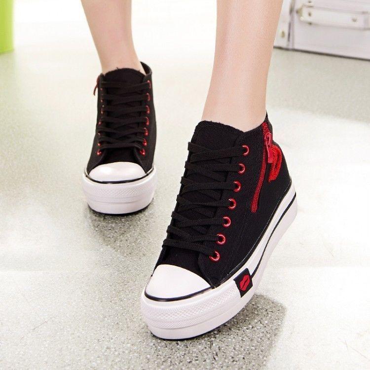 4b44e435459795 Casual Womens Canvas Side Zip High-Top Lace Up Hidden Wedges Heel Platform  Shoes